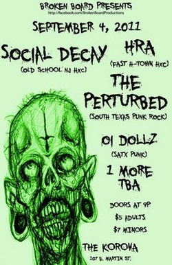 Social Decay w/ H.R.A. At Korova In San Antonio September 4 - TX Punk